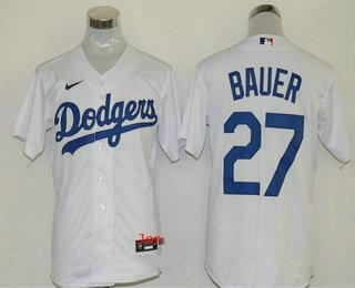 Men's Los Angeles Dodgers #27 Trevor Bauer White Stitched MLB Cool Base Nike Jersey