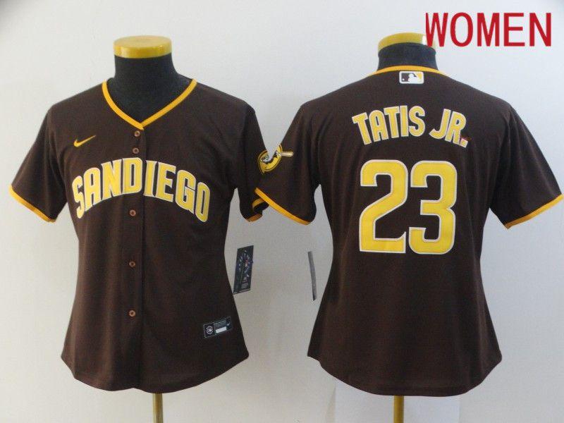 Women San Diego Padres 23 Tatis jr brown Game 2021 Nike MLB Jersey