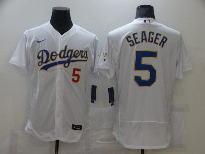 Men Los Angeles Dodgers 5 Swager Champion of white gold and blue characters Elite 2021 Nike MLB Jersey