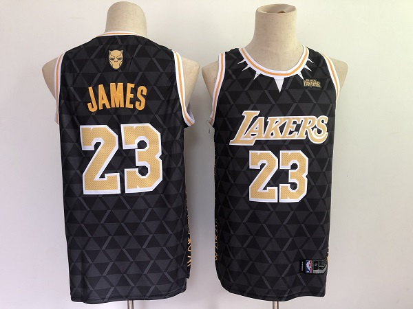 Men's Los Angeles Lakers #23 LeBron James Black Panther Limiter Stitched NBA Jersey