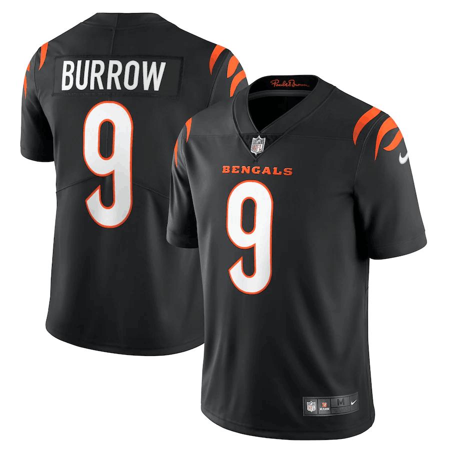 Men's Cincinnati Bengals #9 Joe Burrow 2021 New Black Vapor Untouchable Limited Stitched Jersey