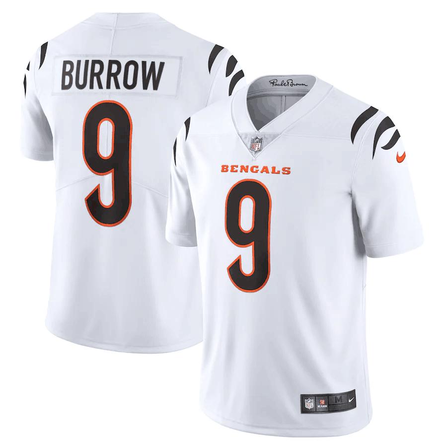 Men's Cincinnati Bengals #9 Joe Burrow 2021 New White Vapor Untouchable Limited Stitched Jersey
