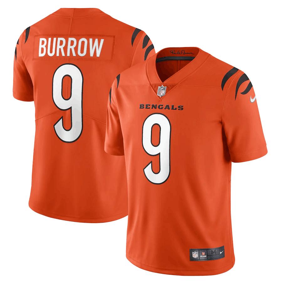 Men's Cincinnati Bengals #9 Joe Burrow 2021 New Orange Vapor Untouchable Limited Stitched Jersey