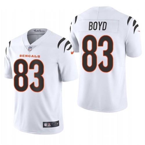 Men's Cincinnati Bengals #83 Tyler Boyd 2021 New White Vapor Untouchable Limited Stitched Jersey