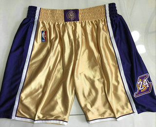 Men's Los Angeles Lakers #8 #24 Kobe Bryant Gold 1996-2016 The Hall of Fame Throwback Shorts