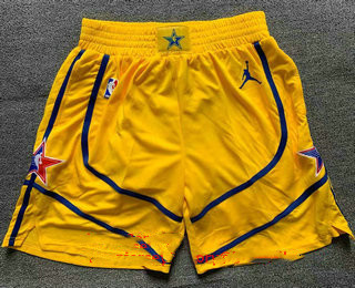 Men's Yellow Western Conference Stitched 2021 NBA All Star Shorts