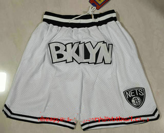 Men's Brooklyn Nets White Just Don Swingman Throwback Shorts