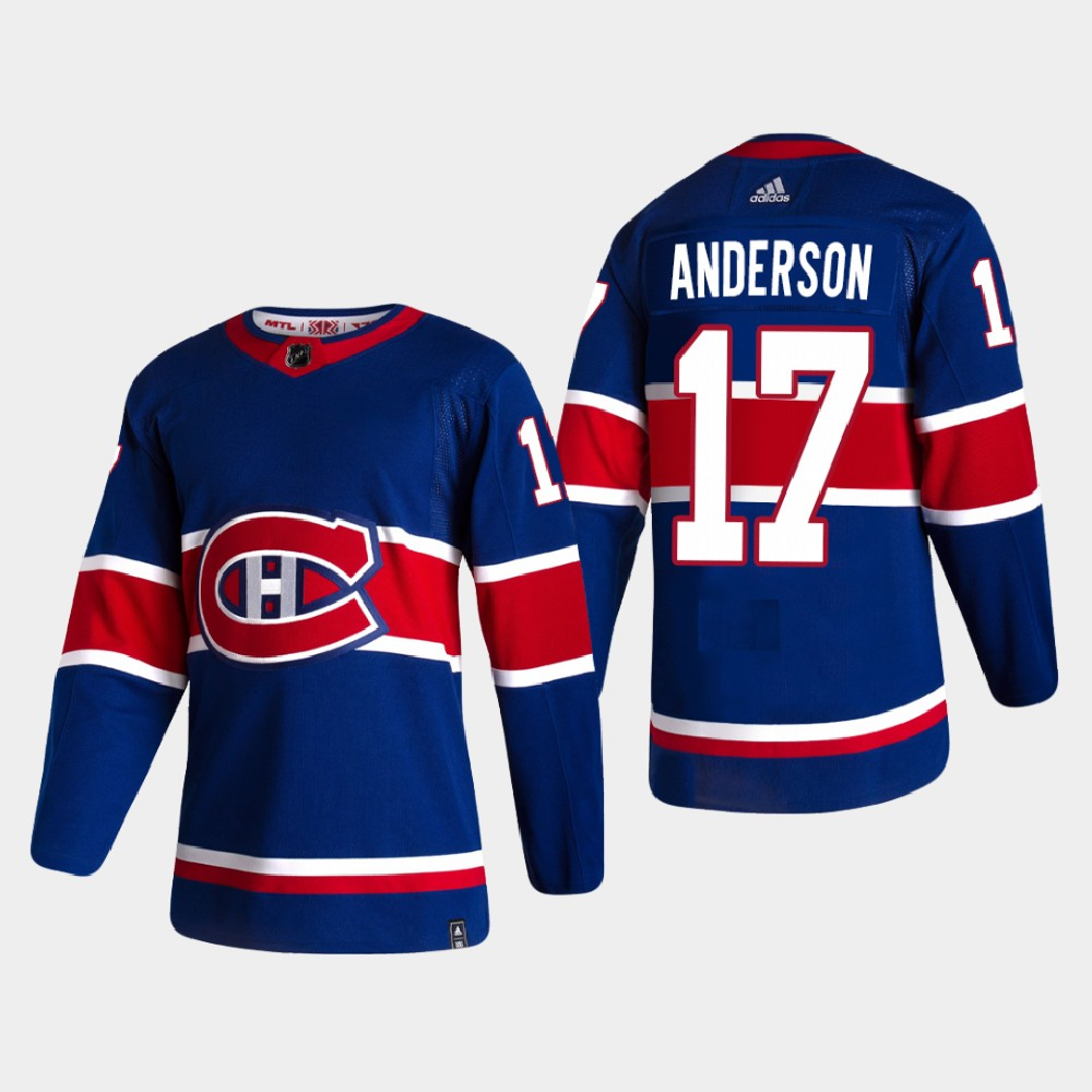 Montreal Canadiens #17 Josh Anderson Reverse Retro 2020-21 Authentic Blue Jersey