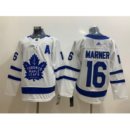 Men's Toronto Maple Leafs #16 Mitchell Marner White With A Patch Adidas Stitched NHL Jersey