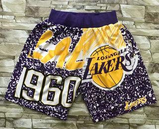 Men's Los Angeles Lakers Purple Big Face Mitchell Ness Hardwood Classics Soul Swingman Throwback Shorts