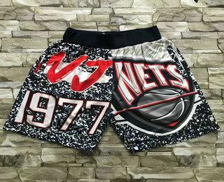 Men's Brooklyn Nets Black Big Face Mitchell Ness Hardwood Classics Soul Swingman Throwback Shorts