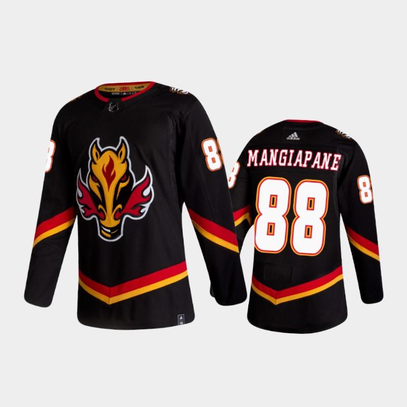 Men's Calgary Flames #88 Andrew Mangiapane Reverse Retro 2020-21 Black Authentic Jersey