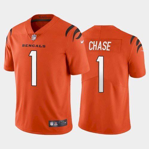 Men's Cincinnati Bengals #1 Ja'Marr Chase Orange 2021 Limited Football Jersey