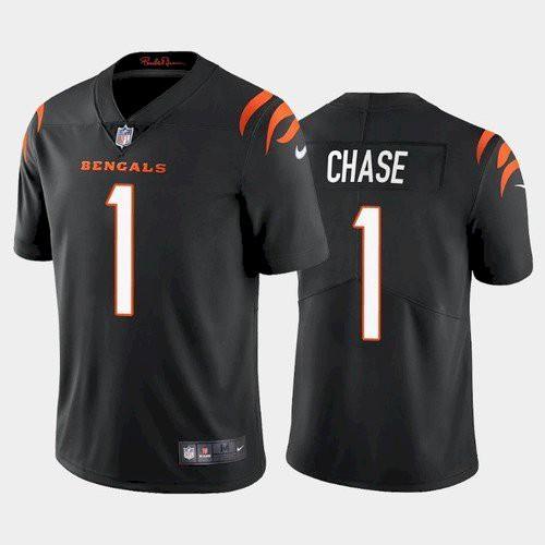 Men's Cincinnati Bengals #1 Ja'Marr Chase Black 2021 Limited Football Jersey