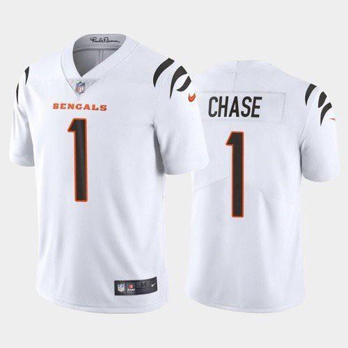 Men's Cincinnati Bengals #1 Ja'Marr Chase White 2021 Limited Football Jersey