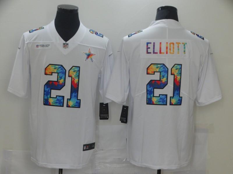 Men Dallas Cowboys 21 Elliott White Nike Rainbow version 2021 NFL Jersey