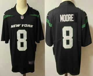 Men's New York Jets #8 Elijah Moore Black 2021 Vapor Untouchable Stitched NFL Nike Limited Jersey