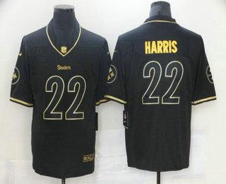 Men's Pittsburgh Steelers #22 Najee Harris Black 100th Season Golden Edition Jersey