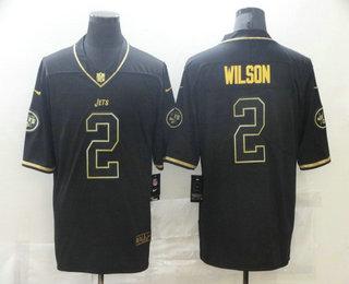 Men's New York Jets #2 Zach Wilson Black 100th Season Golden Edition Jersey