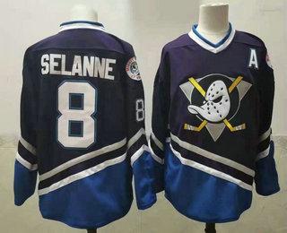 Men's Anaheim Ducks #8 Teemu Selanne 1995-96 Purple CCM Vintage Throwback Jersey