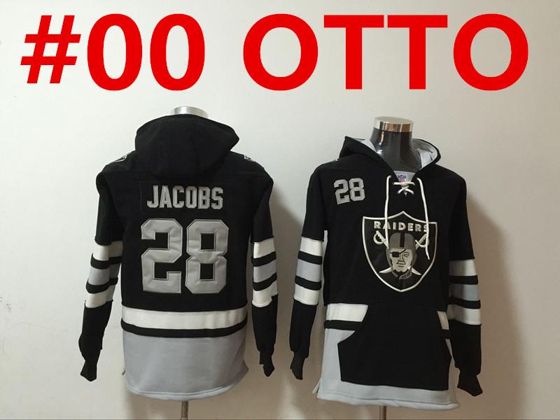 men's las vegas raiders #00 jim otto new black pocket stitched nfl pullover hoodie
