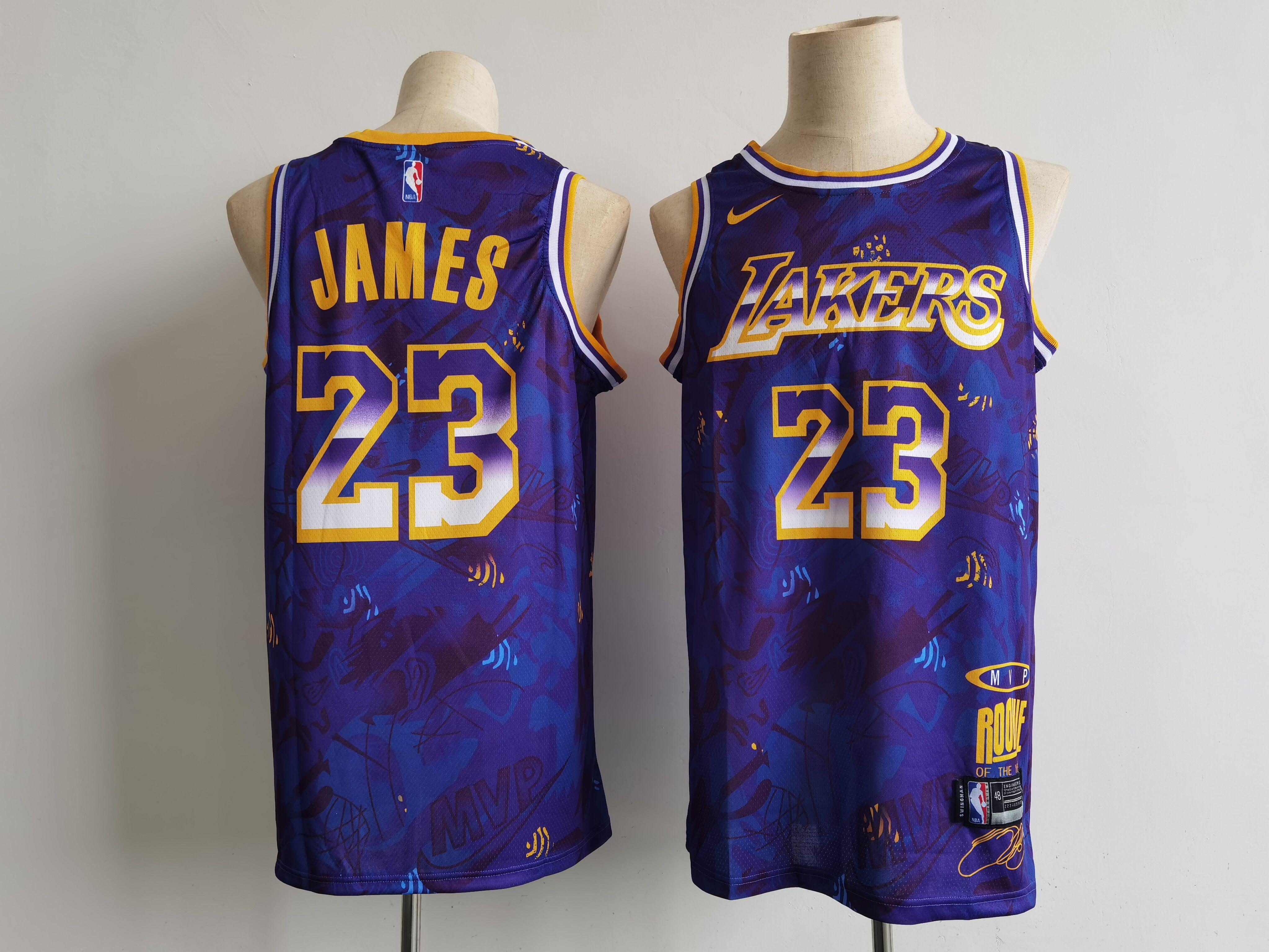 Men Los Angeles Lakers 23 James Purple Nike MVP rookie of the year ...