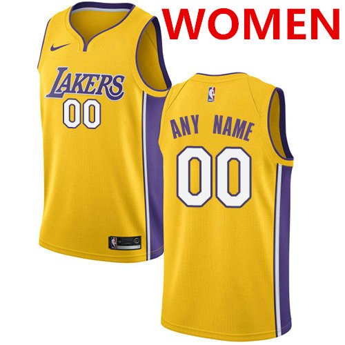 Women's nike los angeles lakers customized swingman gold home nba icon edition jersey