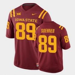 Men Iowa State Cyclones #89 Dylan Soehner College Football Cardinal Replica Jersey