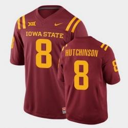 Men Iowa State Cyclones #8 Xavier Hutchinson College Football Cardinal Replica Jersey