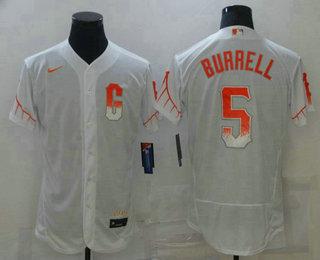 Men's San Francisco Giants #5 Pat Burrell White 2021 City Connect Stitched MLB Flex Base Nike Jersey