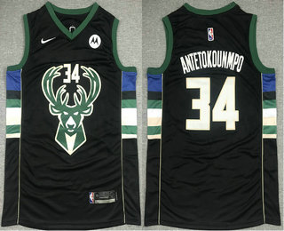 Men's Milwaukee Bucks #34 Giannis Antetokounmpo Black 2021 Nike Swingman Stitched Jersey With NEW Sponsor Logo
