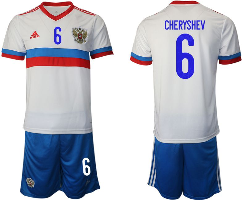 Men 2020-2021 European Cup Russia away white 6 Adidas Soccer Jersey