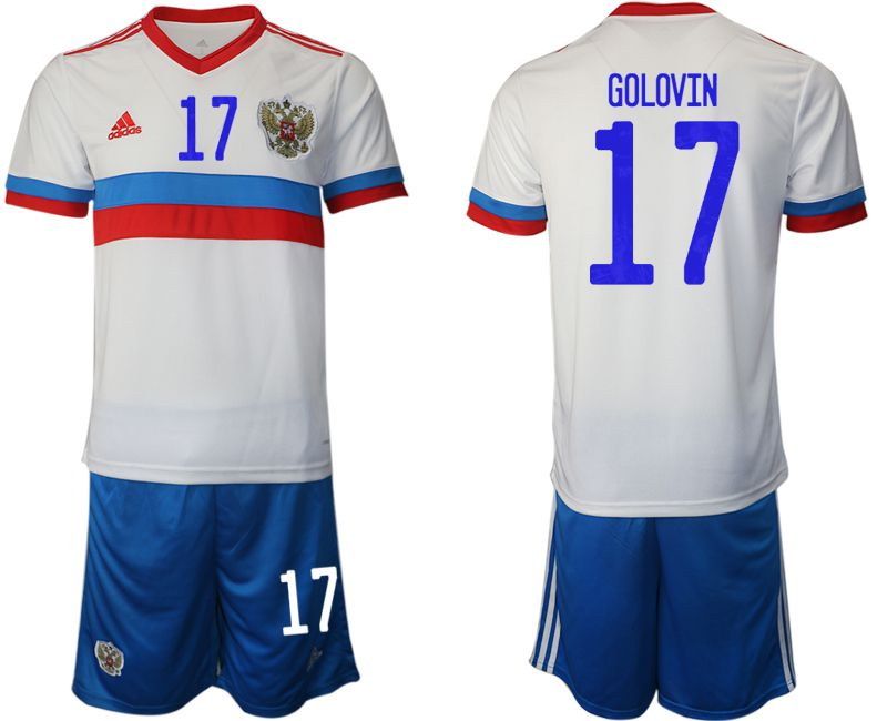 Men 2020-2021 European Cup Russia away white 17 Adidas Soccer Jersey