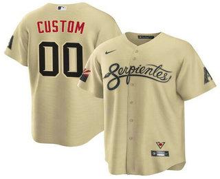 Men's Arizona Diamondbacks Gold ACTIVE PLAYER Custom 2021 City Connect Cool Base Stitched MLB Jersey
