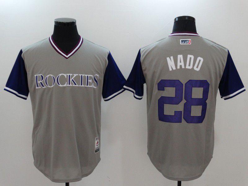 Men Colorado Rockies 28 Nado Gray Game Legend Edition MLB Jersey