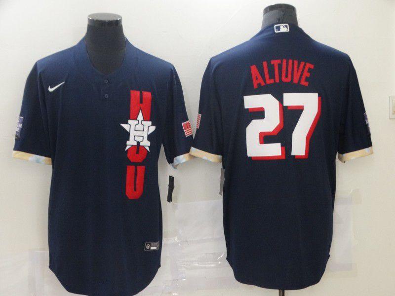 Men Houston Astros 27 Altuve Blue 2021 All Star Game Nike MLB Jersey