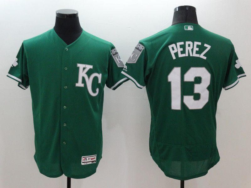 Men Kansas City Royals 13 Perez Green Elite 2021 MLB Jerseys