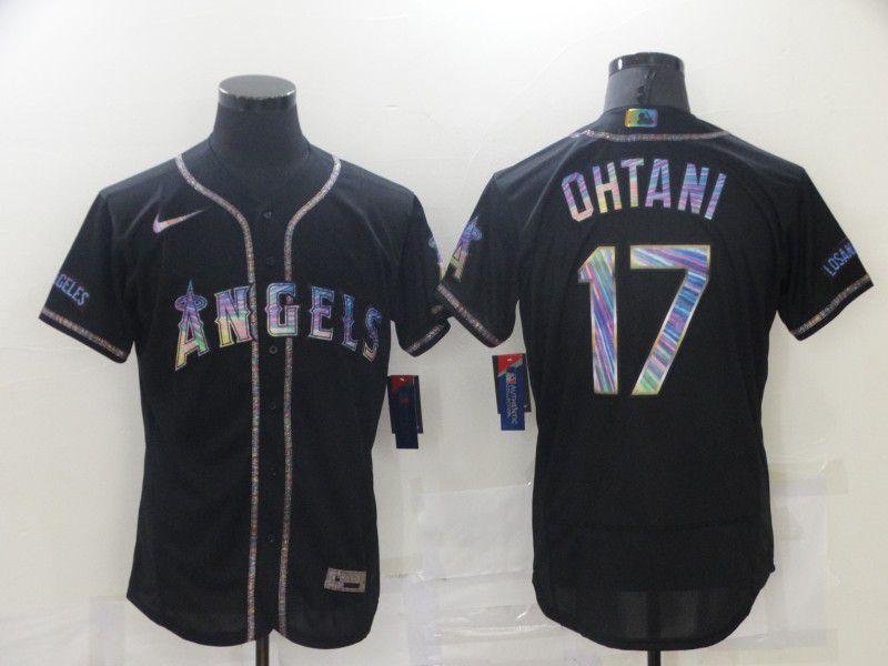 Men Los Angeles Angels 17 Ohtani Black Colorful Edition Elite 2021 Nike MLB Jersey