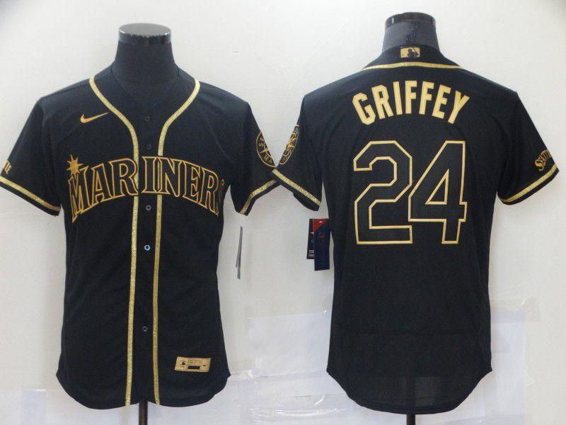 Men Seattle Mariners 24 Griffey Black Elite Nike 2021 MLB Jerseys
