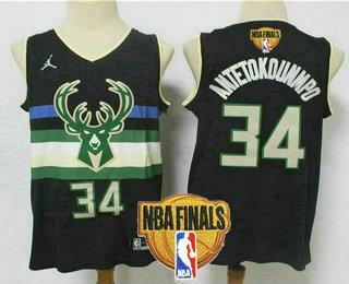 Men's Milwaukee Bucks #34 Giannis Antetokounmpo Black 2021 Finals Patch Brand Jordan Swingman Stitched Jersey