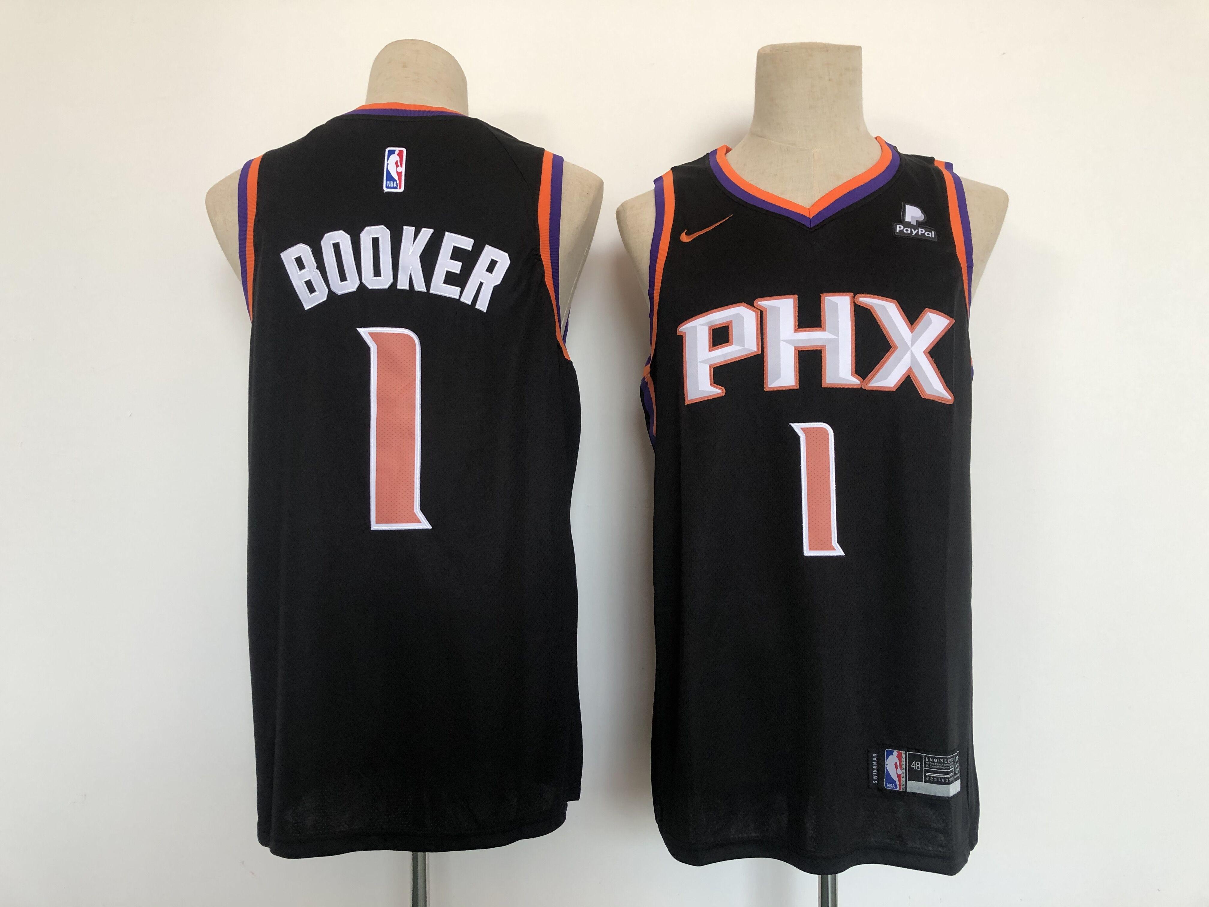 Men Phoenix Suns 1 Booker Black Game Nike 2021 NBA Jersey