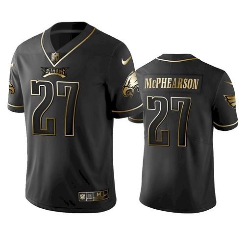 Men Philadelphia Eagles #27 Zech McPhearson Black Golden Edition Jersey