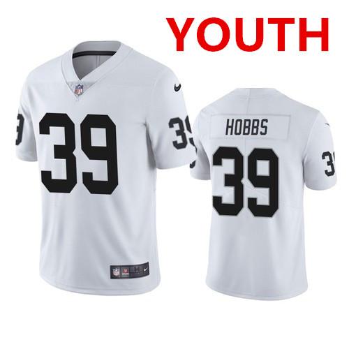 Youth las Vegas Raiders #39 Nate Hobbs white vapor limited jersey