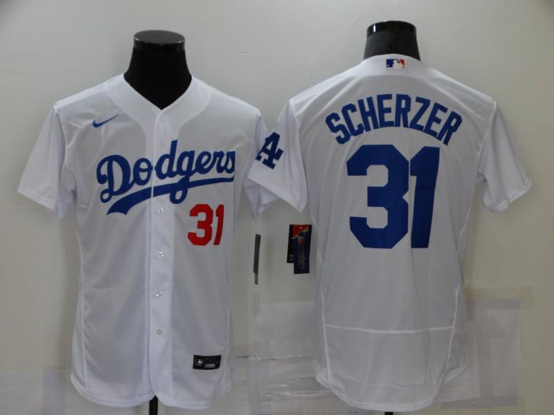 Men's Los Angeles Dodgers #31 Max Scherzer White Stitched MLB Flex Base Nike Jersey