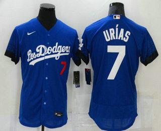 Men's Los Angeles Dodgers #7 Julio Urias Blue 2021 City Connect Flex Base Stitched Jersey
