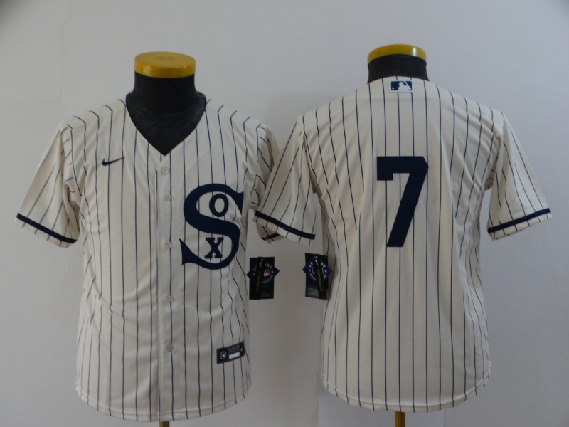 Youth Chicago White Sox #7 Tim Anderson 2021 Cream Field of Dreams Cool Base Stitched Nike Jersey