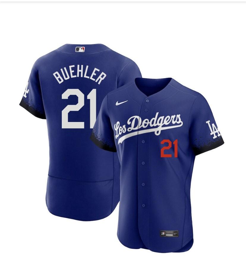 Men's Los Angeles Dodgers #21 Walker Buehler Blue 2021 City Connect Flex Base Stitched Jersey