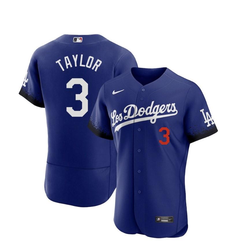 Men's Los Angeles Dodgers #3 Chris Taylor Blue 2021 City Connect Flex Base Stitched Jersey