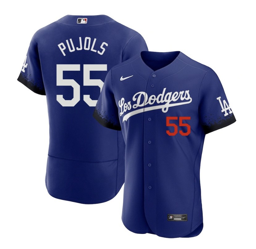 Men's Los Angeles Dodgers #55 Albert Pujols Blue 2021 City Connect Flex Base Stitched Jersey
