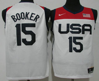 Men's USA Basketball #15 Devin Booker 2021 White Olympics Stitched Home Jersey